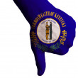 Kentucky us state flag thumbs down gesture for failure made with — Stock Photo