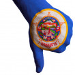 Minnesota us state flag thumbs down gesture for failure made wit - Stock Photo