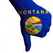 Montana us state flag thumbs down gesture for failure made with - Stock Photo