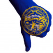 Stock Photo: Nebraskus state flag thumbs down gesture for failure made with