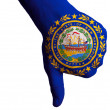 Stock Photo: New hampshire us state flag thumbs down gesture for failure made