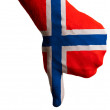 Stock Photo: Norway national flag thumb down gesture for failure made with ha
