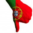 Stock Photo: Portugal national flag thumbs down gesture for failure made with