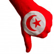 Stock Photo: Tunisinational flag thumbs down gesture for failure made with