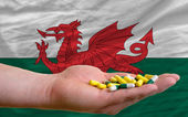 Holding pills in hand in front of wales national flag — Stock Photo