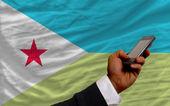 Cep telefonunda Cibuti, açık ulusal bayrak — Stok fotoğraf