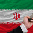 Cell phone in front  national flag of iran - 图库照片