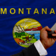 Cell phone in front  flag of american state of montana - Stock Photo