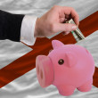 Dollar into piggy rich bank and  flag of american state of alaba - Stok fotoraf