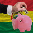 Dollar into piggy rich bank and  national flag of bolivia - Zdjęcie stockowe