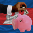 Dollar into piggy rich bank and  national flag of cambodia - Стоковая фотография