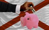 доллар в копилка богатые банком и флагом американского государства alaba — Стоковое фото