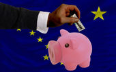 Dollar till rika piggy bank och amerikansk flagg av alask — Stockfoto