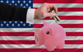 Dollar into piggy rich bank and national flag of america — Stock fotografie