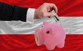 Dollar in reich sparschwein und nationalflagge österreichs — Stockfoto