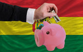Dollar into piggy rich bank and national flag of bolivia — Stock fotografie