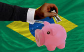 Dollar into piggy rich bank and national flag of brazil — 图库照片
