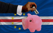 Dollar into piggy rich bank and national flag of of capeverde — Stock Photo