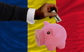 Dollar into piggy rich bank and national flag of of chad — 图库照片