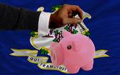 Dollaro in piggy bank ricco e bandiera dello stato americano di conne — Foto Stock