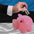 Dollar into piggy rich bank and  national flag of estonia - Stock Photo