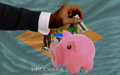 Dollar into piggy rich bank and flag of american state of delaw — Stock Photo