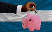 Dollar into piggy rich bank and national flag of el salvador — Stock Photo