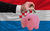Dollar into piggy rich bank and national flag of croatia — Stock Photo