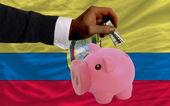 Dollar in reich sparschwein und nationalflagge ecuadors — Stockfoto