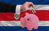Dollar till rika piggy bank och nationella flagga costarica — Stockfoto