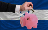 Dollar into piggy rich bank and national flag of honduras — Stock Photo