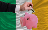 Dollar into piggy rich bank and national flag of ireland — 图库照片