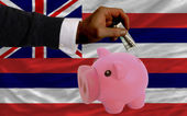 Dollar into piggy rich bank and flag of american state of hawai — Stock Photo
