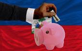 Dolar w piggy bank bogaty i flagi narodowej haiti — Zdjęcie stockowe