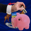 Dollar into piggy rich bank and  flag of american state of michi - Stockfoto