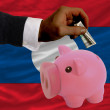 Dollar into piggy rich bank and  national flag of laos - Stock Photo