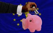 Dollar in piggy rijke bank en de vlag van amerikaans staat van india — Stockfoto