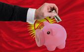 Dollar into piggy rich bank and national flag of kirghizstan — 图库照片