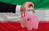 Dollar into piggy rich bank and national flag of iran — Stock Photo