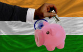 Dollar into piggy rich bank and national flag of of india — Stock fotografie