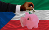 Dollar into piggy rich bank and national flag of of equatorial — 图库照片