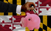 Dollar into piggy rich bank and flag of american state of maryl — Stockfoto