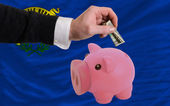 Dollar into piggy rich bank and flag of american state of nevad — Stock Photo