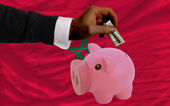Dollar in piggy rijke bank en de nationale vlag van marokko — Foto de Stock