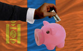Dollar into piggy rich bank and national flag of mongolia — Stock fotografie