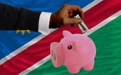 Dollar into piggy rich bank and national flag of namibia — Stock Photo