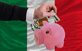 Dollar into piggy rich bank and national flag of mexico — Stock Photo