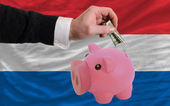 Dollar into piggy rich bank and national flag of holland — Stock Photo