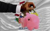 Dollar in reich sparschwein und flagge des amerikanischen bundesstaates illin — Stockfoto