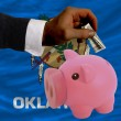 Dollar into piggy rich bank and  flag of american state of oklah - Photo